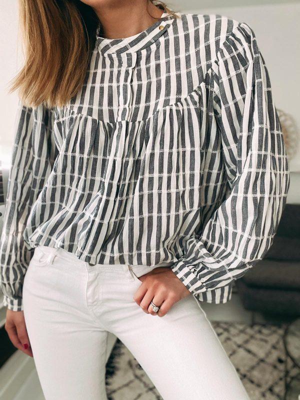 Blouse ROXANE - rayée gris/blanc